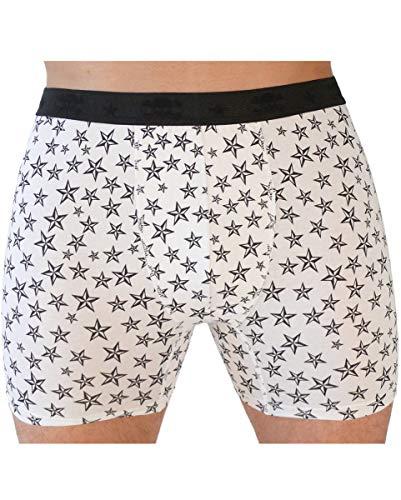 Preisvergleich Produktbild Weiße Herren Boxershort mit nautischen Sternen für Rockabillys & 50s Fans L / XL