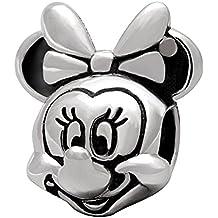 Abalorio para pulsera con diseño de Minnie Mouse, en plata de ley, de Spanglebead