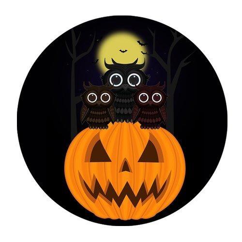 Generic Personalisierte Cartoon Moon Night Eule und Rollenspiele Halloween Kürbis Laterne für runde Maus Pad