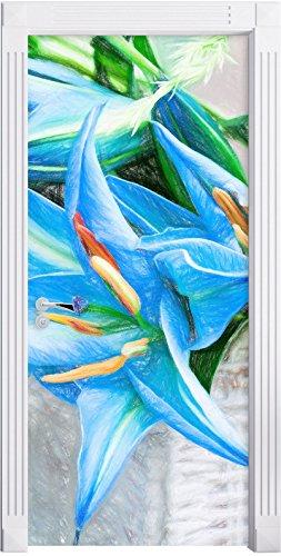 schöne blaue Blumen im Körbchen Kunst Buntstift Effekt als Türtapete, Format: 200x90cm, Türbild,...