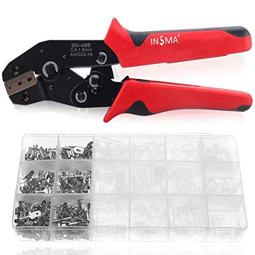 INSMA Pince à Sertir 600 Terminals Sertissage Wire Crimpers Support 0.5-1.5 mm² Outil à Sertir Pinces à Sertir Professionnelles Outil à Sertir