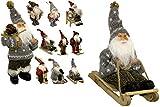 JEMIDI Weihnachtsmann 18cm Deko Nikolaus zum aufhängen Figur Santa Weihnachts Deko Holz (Auf Schlitten)