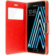 Housse, Etui folio à fenêtre fonction support pour Samsung Galaxy A3 2016 - Rouge