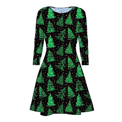 langen Ärmeln Olaf Santa Geschenke Glocken Lebkuchen-Weihnachtsweihnachts druckte Neuheit Ausgestelltes Swing-Kleid Top in Übergrößen (S/M 36-38, Christmas green Tree) (Kleid Santa)