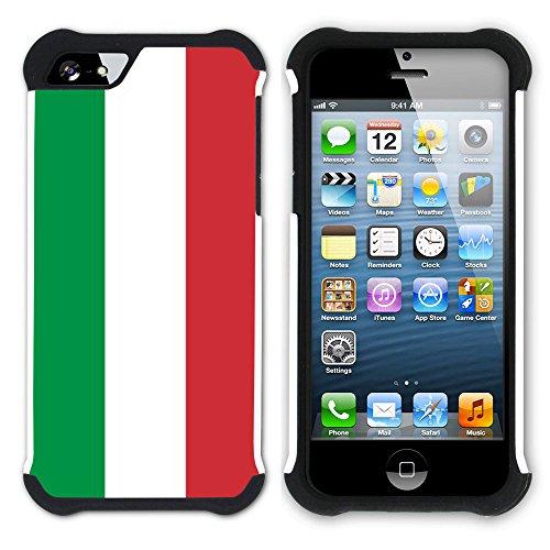 Graphic4You Italien Italienisch Flagge Hart + Weiche Kratzfeste Hülle Case Schale Tasche Schutzhülle für Apple iPhone SE / 5 / 5S Design #5