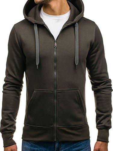 BOLF Kapuzenpullover Sweatshirt Hoodie Kapuze Pullover mit Reißverschluss Mix 1A1 Dunkelgrau_2008