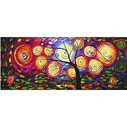 Rflkt Árbol de la Vida - Panorama - Pintura al óleo pintada a mano sobre lienzo artesaníaTranscription de trabajo inspirador de Klimt.