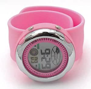 Ladies/Unisex Pink LCD Silicone Slap/Snap On Watch. Multi Function. Hypo Allergenic. Fits Any Size Wrist