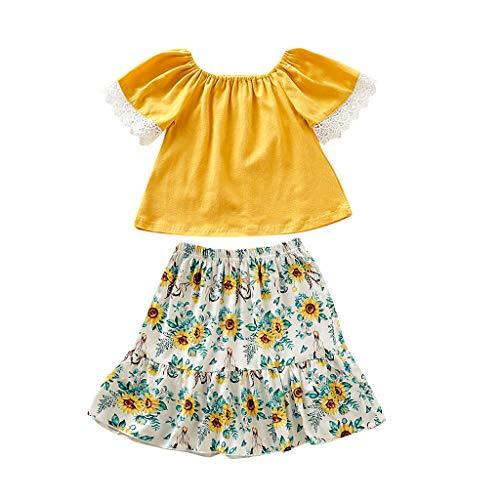 Kind Baby Kurzarm Lace Solid Color Top + gekräuselte Sonnenblume Rock Kostüm(Gelb,110) ()