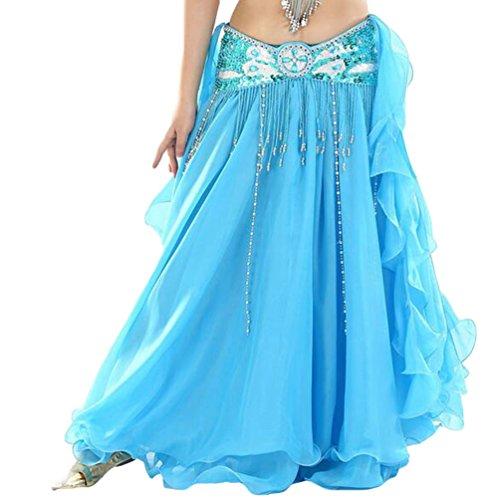 YuanDian Damen Chiffon Einfarbig Professionelle Tänzerin Bauchtanz Spliss Öffnungs Swing Long Rock Tanzkostüm Bauch Dance Kleid See Blau (Nicht inbegriffen ist Gürtel) -