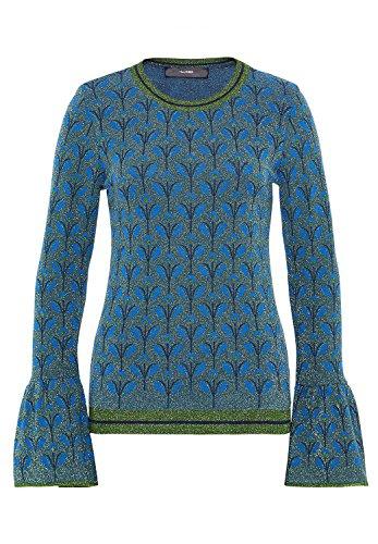 HALLHUBER Jacquard-Pullover mit Lurex gerade geschnitten indigo, M (Lurex-jacquard)