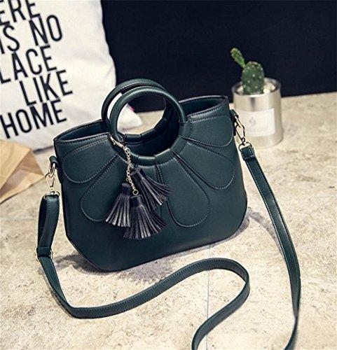 YANX signora Fashion PU nappa petali borsa delle signore Borsa a tracolla Tote (30 * 22 * ??11cm) , green