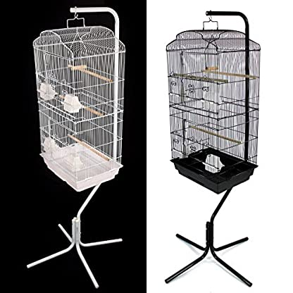 Easipet Large Metal Bird Cage with Stand Suitable For Multiple Birds (Black) 5