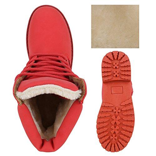 UNISEX Damen Herren Warm Gefütterte Damen Worker Boots Stiefeletten Outdoor Hellrot