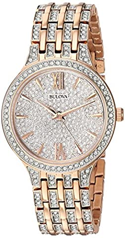 Bulova Women's Quartz Stainless Steel Casual Watch, Color:Rose Gold-Toned (Model: 98L235)