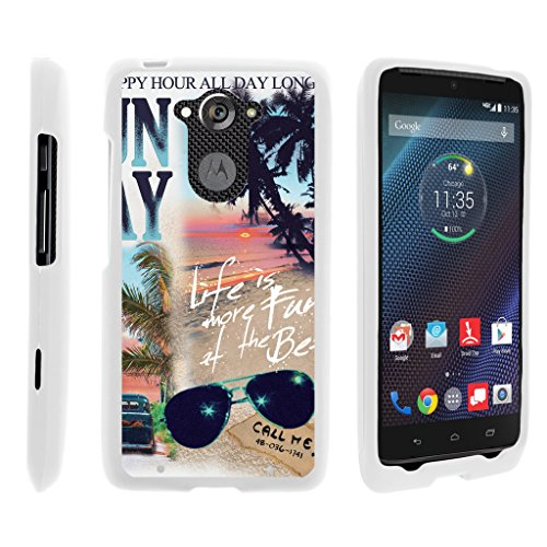 turtlearmor | Motorola Droid Turbo Fall | xt1254 | Moto Maxx Fall [Slim Duo] Slim Snap auf 2 Stück Hard Cover Displayschutzfolie Matt Einzigartige Designs auf Weiß -, Life on The Beach Maxx Ve-snap