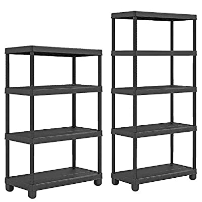 Heavy Duty Plastic Shelf Shelving Shelves Strong Rack Racking Home Storage Unit 172 x 60 x 30cm Universal Organiser Black