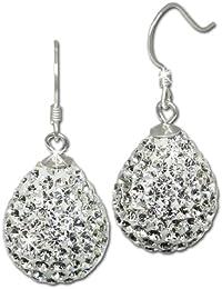 SilberDream scintillement bijoux - boucle d'oreilles goutte blanc en argent 925 avec des tchèques cristaux Preciosa - GSO220W