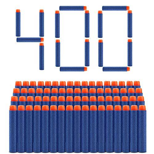 Welltop 400 Piezas de Recarga Bullet Foam Darts Ammo Pack para Nerf N-Strike Elite Series Blasters Kids Toy (Azul)