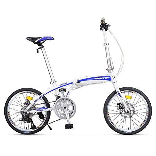 YEARLY Erwachsene klappräder, Klappräder Lightweight Portable Männer und frauen 16 geschwindigkeit Faltrad-Blau 20inch