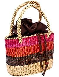 Water Hyacinth Natural Fibre Bag - Burgundy, Pink And Beige Color- Water Hyacinth Bag, Fibre Bag, Party Bag, Picnic...