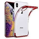 Coque iphone X XS Transparent Silicone Ultra fine Mince/Anti choc/Slim/Liquid Crystal Rouge,Housse en TPU Bumper Souple Pour iphoneX iphoneXS,360 Degres Protection,Étui avec Bordure Colorée de Placage