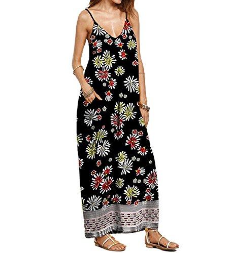 DINGANG® Damen Sommer Bohemian Gedruckt Kleid Lose V-Ausschnitt Ärmelloses Lange Party Strandkleider J