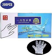 200Pcs Disposable Gloves Transparent Eco-friendly Food-grade PE Gloves Restaurant BBQ Kitchen Accessories