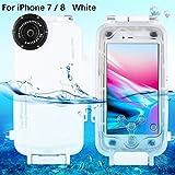 TOOGOO Fuer iPhone 7/8 Unterwassergehaeuse Professional [40m/130ft] Tauchen Gehaeuse Fuer Surfen Schwimmen Schnorcheln Foto Video mit Lanyard (iPhone 7/8, Weiss)