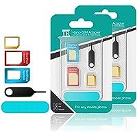 TechRise 5 in 1 Nano Micro Standard SIM Karten Card Adapter Set Kit Converter mit Sander Bar und Fach öffnen Nadel für Smartphones [Neueste Upgraded] - 2 Stück