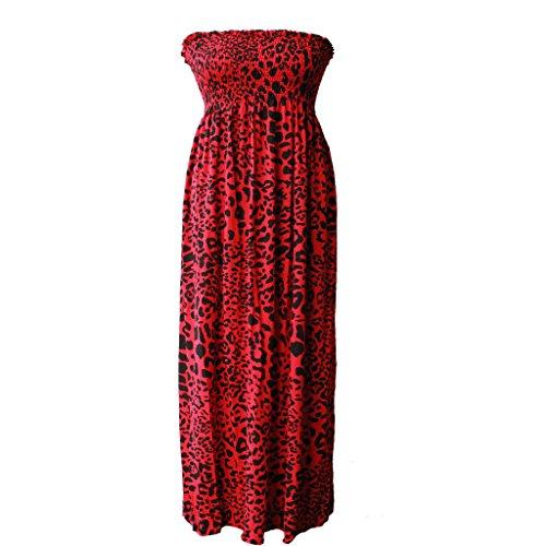 Glam Coture® da donna senza spalline Maxi Dress Donna Sheering Boobtube Bandeau lunga Plus Size 8-22 Red Leopard S/M (40-42)