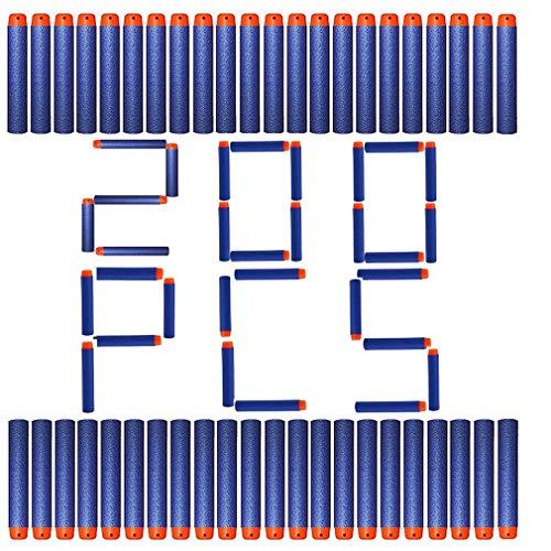 TIMESETL 200Stück Nerf Pfeile Nerf Darts für N-Strike Elite Series, 7,2cm Weichschaum Wiederverwendbar Foam Darts für Blasters Kinder Spielzeugpistole, Nerf kompatible Pfeile Blau