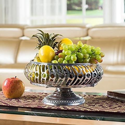 Kreative Mode Moderne Wohnzimmer Kaffee Obst Luxus Große Speicherkapazität Rack Fruit Candy Dish Warenkorb, Elektro Silberauflage
