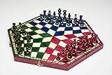 CHESCHECK Schachpiel für DREI, Schach aus Holz (Multicolor, Large) Classic Handgemacht Set: Klappbar Kassette aus Holz mit Schachfiguren, Schachspiel für Kinder