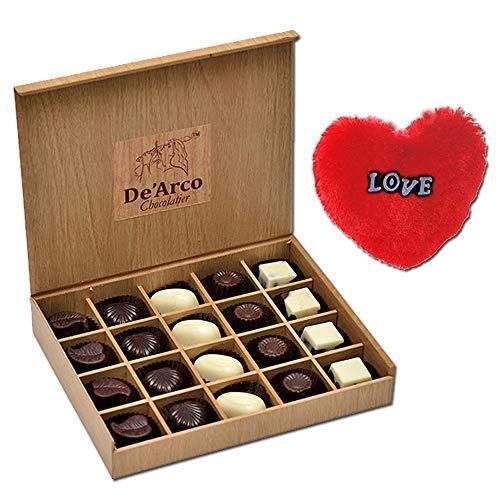 De'Arco Chocolatier Valentines Day Chocolate Gift, Premium Luxury Chocolates, 20pcs + Free Fur Heart