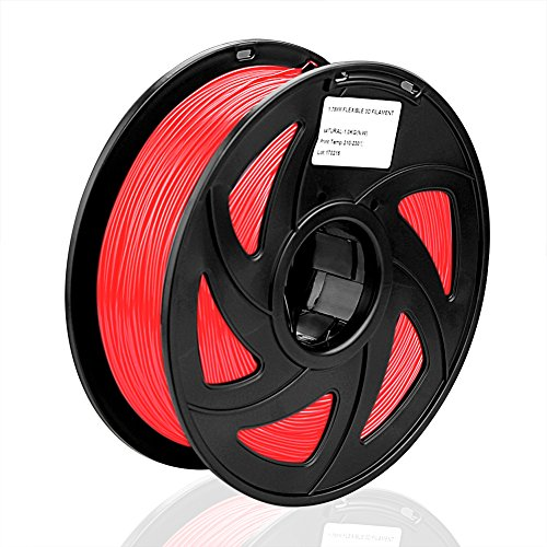 SIENOC 1 Packung 3D Drucker PLA 1.75mm Printer Filament - Mit Spule 1kg (Transparent Rot)