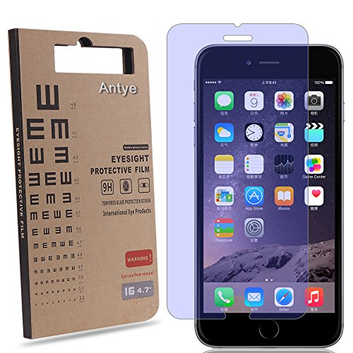 Antye® Anti Blu-Ray Ausgeglichenes Glas-Schirm-Schutz Mit 9H Härte und High Definition (HD) 96% Transparenz für iPhone 6/6s(Speichert Ihre Sehkraft vor Schädlichen UV-Ray und Blue Light)