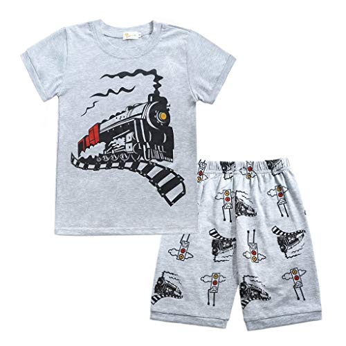 (JUTOO 2 Stücke Set Kleinkind Baby Boy Cartoon Tops T-Shirt + Zug Shorts Outfits Set Nachtwäsche (Grau 2,100))