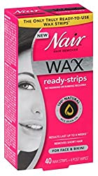 Nair Hair Remover Wax Ready- Strips 40 Count Face/Bikini (2 Pack)
