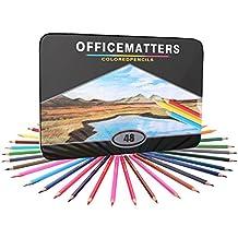 officematters 48 Lápices de Colores para Libros de Colorear para Adultos, Núcleo Duro, Paquete de 48 con Caja de Hierro, Colores Surtidos