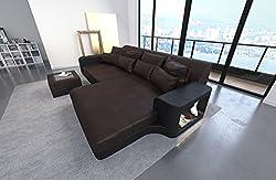 Leather Bigsofa Milano Dark Brown-Black