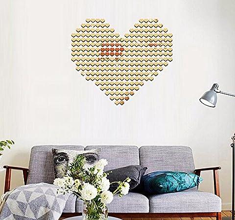 FYOUYOU Wand Spiegel Liebe Stereo Spiegel kreativ Mosaik Wand befestigen Sie sie an der 3D-Wand Wand Spiegel Oberfläche