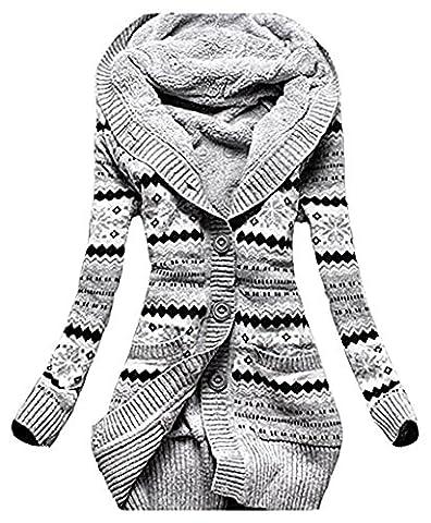 Damen Warme Elegant Locker Langarm Kapuzenjacke Kapuzenshirt Oberteile Outwear Print
