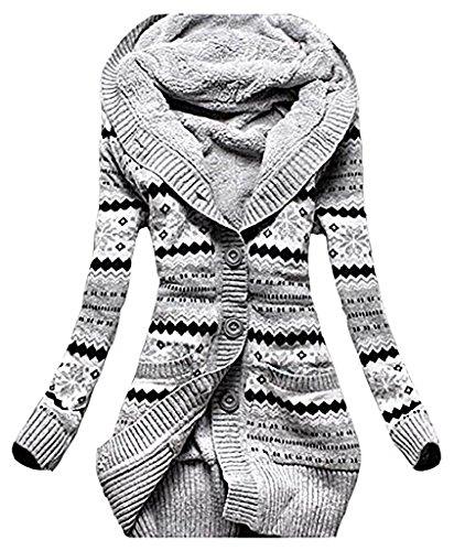 Damen Warme Elegant Locker Langarm Kapuzenjacke Kapuzenshirt Oberteile Outwear Print Kapuzenpullover Kapuzenpullis Blusen Pullover Strickmantel Kimono (XL, Foto Color)