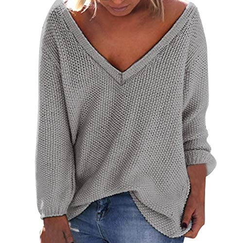 enager Mädchen Herbst Winter MYMYG lose Lange Ärmel V-Ausschnitt V-Ausschnitt Pullover Bluse(Grau,EU:46/CN-4XL) ()