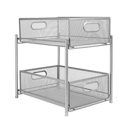 Tablettes coulissantes en acier à 2 niveaux | Organisateurs de placard | Paniers de rangement coulissants | Organisateurs de cuisine | Rangement de salle de bain | M & W