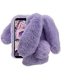 Cestor Pelzig Kaninchen Hülle für Samsung Galaxy A8 2018,Luxus Niedlich 3D  Plüsch Flauschige Hase Ohren Winter Warme Weiche Silikon TPU… f5189ccee2