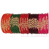 NMII Beautiful & Fashionable Glossy Glass Bangle Set Studded with Zircon & Beads for Women & Girls on Wedding & Festive Occasions