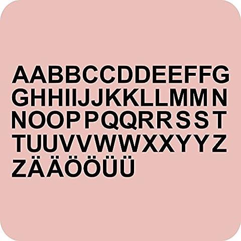 kleb-drauf® - 58 Buchstaben, Höhe je 5 cm / Schwarz - glänzend - Aufkleber zur Dekoration von Autos, Motorrädern und allen anderen glatten Oberflächen im Außenbereich; aus 19 Farben wählbar; in matt oder glänzend
