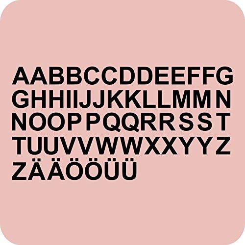 kleb-drauf® - 58 Buchstaben, Höhe je 5 cm / Schwarz - matt - Aufkleber zur Dekoration von Wänden, Glas, Fliesen und allen anderen glatten Oberflächen im Innenbereich; aus 19 Farben wählbar; in matt oder glänzend